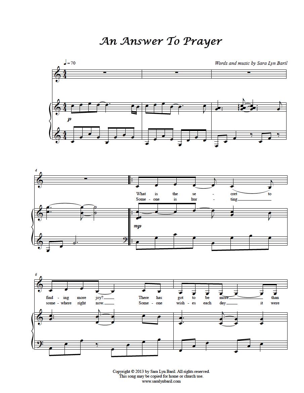 the prayer sheet music pdf